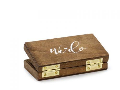 Drewniane pudełko na obrączki, 10x5.5 cm