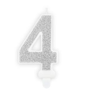 """ŚWIECZKA CYFRA """" 4 """" SREBRNA"""