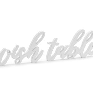 Drewniany napis Wish table, biały