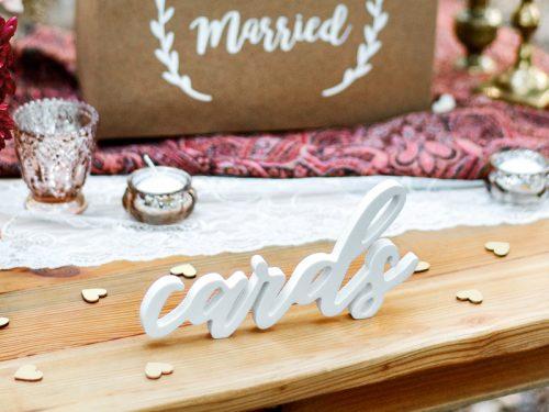 Drewniany napis Cards