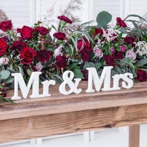 Drewniany napis Mr & Mrs