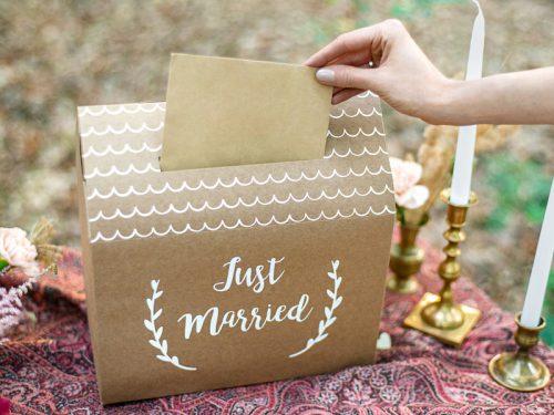 Pudełko na koperty - Just Married, kraft