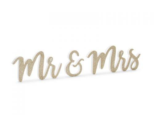 Drewniany Napis Mr & Mrs, złoty