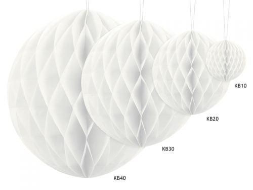 Kula bibułowa, biała, 10 cm