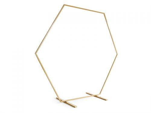 Stojak na tło ślubne heksagon, złoty