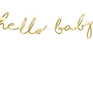 Banner Hello Baby Złoty 18 x 70 cm